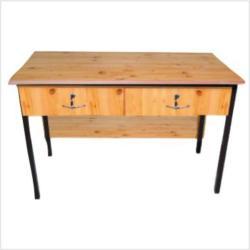 Felül 2 fiókos fémlábas tanári asztal