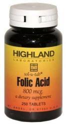 Highland Laboratories Folic Acid folsav tabletta - 250 db