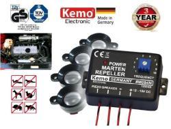 Kemo M094N 12V szabályozható ultrahangos nyestriasztó 4db piezo hangszóróval
