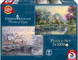 Schmidt Spiele Thomas Kinkade - Lamplight Manor/Winter at Lamplight Manor 2x1000 db-os