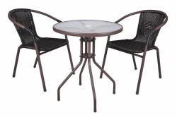 Garthen Bistro kerti asztal üveglappal és 2 polyrattan Garth szék
