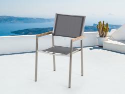 Beliani Grosseto kerti szék, rozsdamentes acél, fa, textil