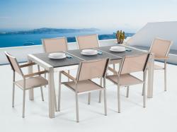 Beliani Grosseto égetett kerti bútor - gránit asztallap 180cm és 6db textil szék