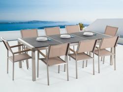 Beliani Grosseto égetett kerti bútor - gránit asztallap 220cm és 8db textil szék