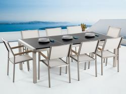 Beliani Grosseto kerti bútor szett - polírozott gránit asztallap 220cm és 8db textil szék