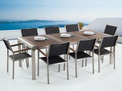 Beliani Grosseto kerti bútor szett - fa asztallap 220cm és 8db textil szék