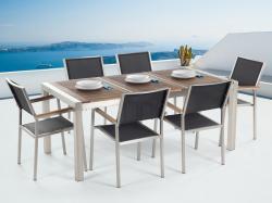 Beliani Grosseto kerti bútor szett - fa asztallap 180cm és 6db textil szék