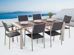 Beliani Grosseto kerti bútor szett - fa asztallap 180cm és 6db rattan szék
