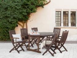 Beliani Maui fa kerti garnitúra szett - akácfa - asztal és 6db szék kartámasszal