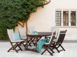 Beliani Maui fa kerti garnitúra szett - akácfa - asztal és 6db szék párnával