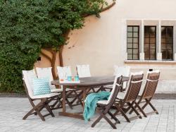 Beliani Maui fa kerti garnitúra szett - akácfa - asztal és 8db szék párnával