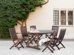 Beliani Maui fa kerti garnitúra szett - akácfa - asztal és 6db szék
