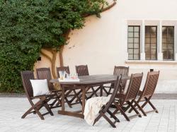 Beliani Maui fa kerti garnitúra szett - akácfa - asztal és 8db szék