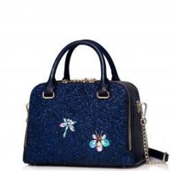 JUST STAR Kék flitteres női táska - Mia