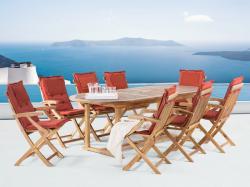 Beliani Java fa kerti bútor szett - Kerti asztal 180x220cm és 8db szék - akácfa