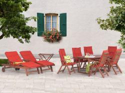 Beliani Toscana fa kerti bútor szett - asztal, 6db szék, 2db nyugágy, teázó asztal, párna