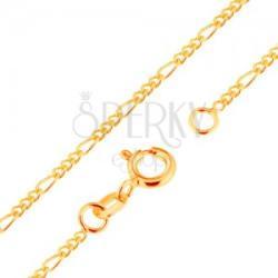 9K arany nyaklánc - Figaro minta, három ovális és egy hosszúkás szem, 500 mm