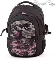 budmil fekete-szürke-pink hátizsák (111149/S37)