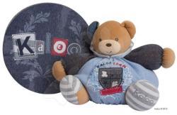 Kaloo Blue Denim Chubby Bear - Puha maci csörgővel 30cm ajándékdobozban