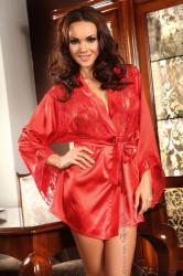 Beauty Night Prilance piros szatén-csipke köntös szett XL/XXL
