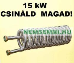 """GRAVIKOL hőcserélő házilag 15 kW Csináld magad! DN12 inox bordás csőből, 1/2"""" csatlakozóval. 0, 76 m2 hasznos felület (HOCSERELO_HCS15KWINOXDN12)"""