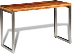 vidaXL Masă de bucătărie lemn masiv sheesham birou cu picioare de oțel (242126)