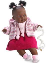 Llorens Adis néger síró baba pink szoknyával - 38 cm