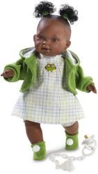 Llorens Adis néger síró baba zöld kardigánban - 38 cm