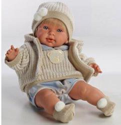 Llorens Alvaro síró fiú baba bézs kardigánban - 42 cm