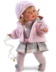 Llorens Anna siró baba kockás ruhában - 42 cm