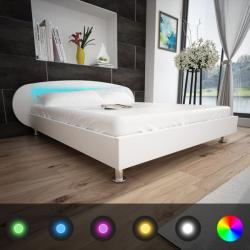 vidaXL Műbőr ágykeret LED csíkkal 140x200cm