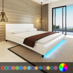 vidaXL Műbőr ágy memóriahabos matraccal és LED csíkkal 180x200cm