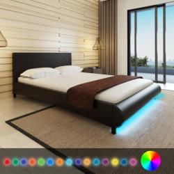 vidaXL Műbőr ágy matraccal és LED csíkkal 140x200cm