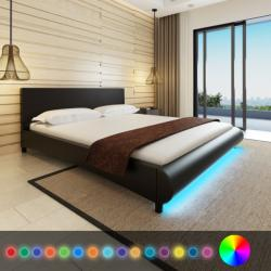 vidaXL Műbőr ágy matraccal és LED csíkkal 180x200cm