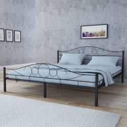 vidaXL Acél ágy és memóriahab matrac hajlított fejtámla&lábtámasz 180x200cm