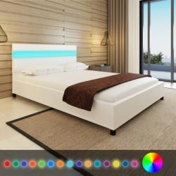 vidaXL LED világítású műbőr kárpitozott fejtámlás ágy 200x140cm