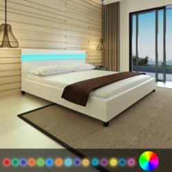vidaXL LED világítású műbőr kárpitozott fejtámlás ágy 200x180cm