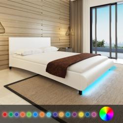 vidaXL Műbőr ágy memóriahabos matraccal és LED csíkkal 140x200cm
