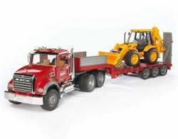 BRUDER MACK Granite trailer és JCB 4CX árokásó 02813