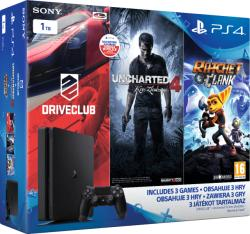 Sony PlayStation 4 Slim Jet Black 1TB (PS4 Slim 1TB) + Driveclub + Uncharted 4 + Ratchet and Clank