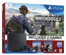 Sony PlayStation 4 Slim Jet Black 1TB (PS4 Slim 1TB) + Watch Dogs 2 + Watch Dogs