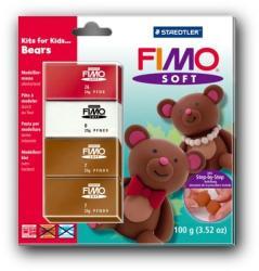 FIMO Soft Kids égethető gyurmakészlet - mackó 4x25g (8024-31)