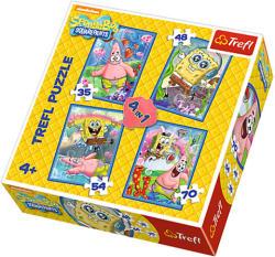Trefl Spongya Bob és Patrick - 4 az 1-ben puzzle 35, 48, 54, 70 db-os (34264)