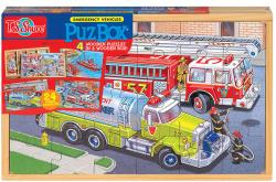 T.S. Shure Tűzoltók fa puzzle dobozban 4x24 db-os (0998)