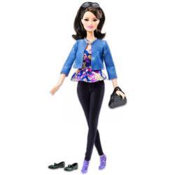 Mattel Fashionista barátnők - óriás szempillával, lila virágos felsőben