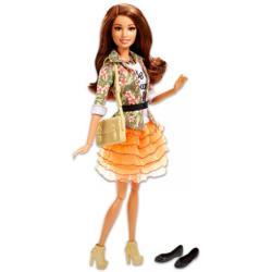 Mattel Fashionista barátnők - óriás szempillával, narancssárga fodros szoknyában