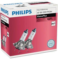 Philips Set 2 becuri auto halogen pentru far Philips VisionPlus +60% H7 55W 12V