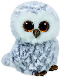 TY Inc Boos Owlette bagoly, fehér-szürke plüssfigura - 15cm (MCEE-37201)