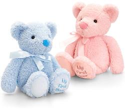 Keel Toys Első macim bolyhos bébiplüss 20cm