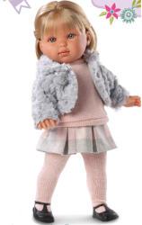 Llorens Laura baba szőke hajjal szőrmemellényben - 45 cm